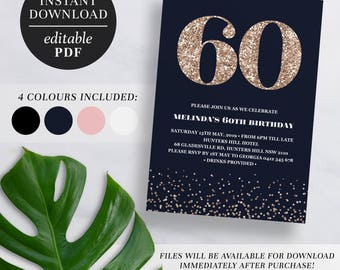 Printable 60th Birthday Invitation Rose Gold Glitter | Editable Template | Glitter | 60 | Sixty | 60th Birthday Invite | Navy | Pink | Black
