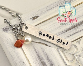 Beach Girl Necklace, Beach Necklace, Bar Necklace, Ocean Necklace, Beach Jewelry, Vacation Jewelry, Ocean Jewelry, Beach, Stamped Necklace
