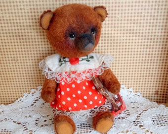 Teddy toy bear Interior toy Collectible toy OOAK teddy Toy bear Artist teddy bear Plush teddy brown bear Bear girl  Author's toy Teddy bear