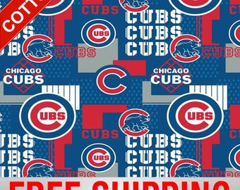 """Chicago Cubs Cotton Fabric MLB Style# CHI-14544 60"""" Wide. Free Shipping!!"""
