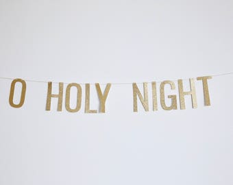 O Holy Night Banner - Glitter Christmas Banner, Holiday Banner, Christmas Party Decor
