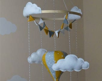Hot air balloon baby mobile with bunting mustard and grey various designs
