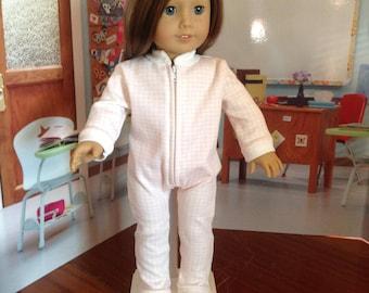 """Footie Jammie's, one piece pajamas, pink checked knit pajamas,  pajamas with """"grippy"""" soles, zipper pajamas, knit pajamas, pink pajamas"""