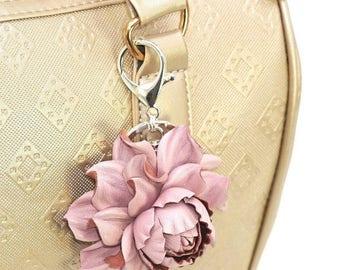 Genuine Leather Flower Bag Charm, Pearly Pink Rose Purse Clip, Real Leather Rose Flower Bag Clip, Keychain Rose Clasp, Handbag Zipper Charm