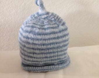Hand Knit Blue Baby Cap