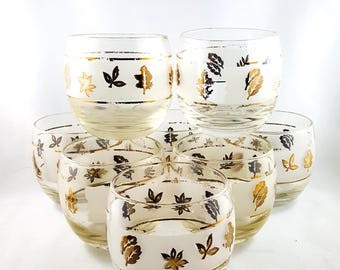 Awesome Mid Century Gold Leaf Libbey ROLY POLY Whiskey glasses Set of 8