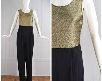 Vintage Womens 1990s Glittery Gold and Black Sleeveless One Piece Jumpsuit | Size S/M