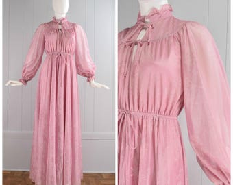 Vintage Womens late 1970s/early 1980s Mauve Pink Floral Print Maxi Dress with Sheer Sleeves and Ruffle Neck | Size XS/S