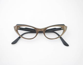 Vintage Amazing Cat Eye 1950's Eyeglasses / Bausch and Lomb USA