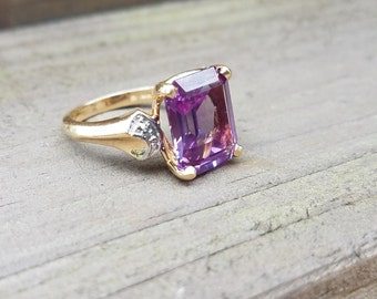 Synthetic Sapphire Diamond 14K Gold Ring (size 6)