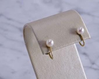 14K Pearl Screw Back Yellow Gold Earrings