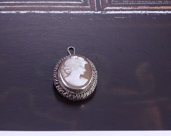 Antique Cameo .800 silver converted to pendant