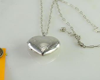 """Heart Locket 17""""-19"""" adj Chain All Sterling"""