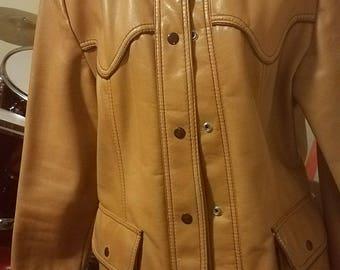 Vintage 70s Vinyl Western Cool Caramel Color Jacket Blazer