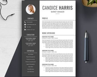 Professional Resume Template, CV Template, Cover Letter, MS Word, Mac, PC, Creative Modern Teacher Simple Resume, Instant Download, Candice