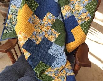 Modern Lap Quilt, Plus Quilt, Daffodil Quilt, Blue Quilt, Yellow Quilt, Floral Quilt