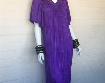 Vintage 80's Purple Cotton Gauze Hippie Bohemian Gypsy Festival Tent Maxi DRESS