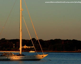 Yellow Gold Sunrise, White Sailboat at Dawn, Sunrise and Shadow, Marina and Blue Water Outdoor Photo, New England Photo, Digital Screensaver