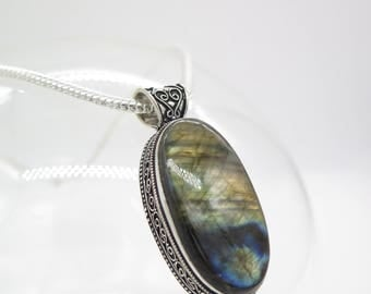 Rainbow Labradorite Sterling Silver Pendant and Chain