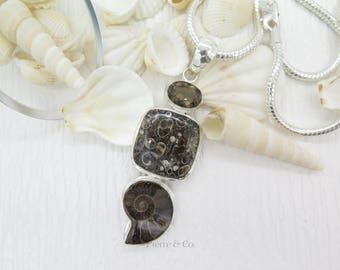 Turritella Agate Ammonite Fossil and Smoky Topaz Sterling Silver Pendant and Chain