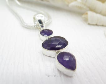 Faceted Amethyst Sterling Silver Pendant and Chain