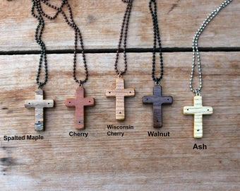 Wood Cross Necklace, Small Cross Pendant, Thy Will Be Done, Cherry Wood, Walnut cross, Mens cross necklace, Womens cross, Crucifix Necklace