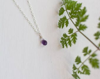 Dainty Amethyst Necklace, amethyst necklaces for women, dainty wedding jewelry for bridesmaids, minimal sterling silver jewelry, tiny