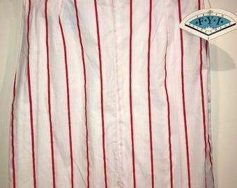 Vintage 1980s Cotton FYI Red & White Striped Mini Skirt
