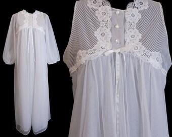 1960s Gossard Artemis Peignoir Set, Chiffon Nightgown and Robe, White, Size Small - GORGEOUS