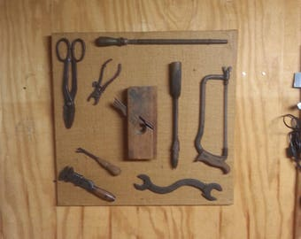 "Antique Tools Tool Display Board 25"" 9 Piece Old Tool Collection On Canvas"