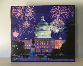 US Capitol Building under fireworks wooden wall decor
