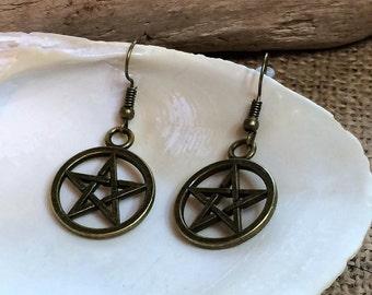 Pentacle Earrings, Pentagram, Wiccan earrings, Witch jewelry, antique bronze Pagan earrings, Pentagram gifts, Witch earrings, Pagan Jewelry