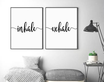 Inhale Exhale Print Yoga Wall Art Scandinavian Modern Pilates