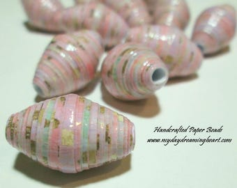 20 Handmade Loose Paper Beads Rose Mauve Pink W/ Gold Bicone Lot Jewelry Necklace Bracelet Earrings Craft Macrame Supplies Made In Maine