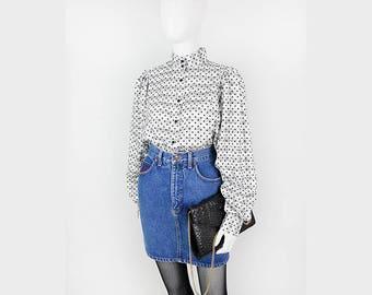 Pünktchen-vintage blouse with voluminous sleeves 38