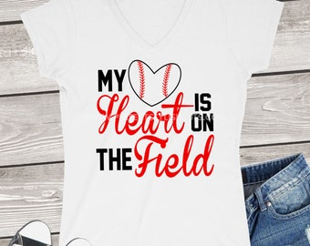Baseball Mom Svg, My Heart Is On The Field Svg, Baseball Svg, Sports Svg, Baseball Mama Svg, Baseball DXF, EPS, PNG, Iron On