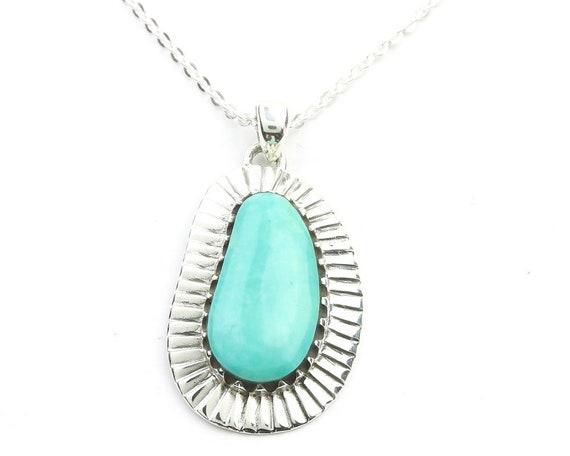 Sterling Silver Turquoise Necklace, Southwestern Jewelry, Large Turquoise, Meditation, Spiritual, Boho, Gypsy, Festival Jewelry