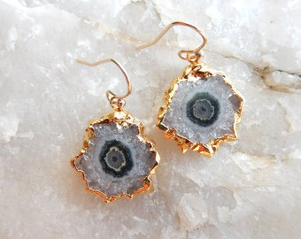 Stalactite Slice Earrings 24K Gold Dipped Electroplate Crystal Dangle Drop Free Shipping Jewelry