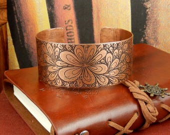Etched copper cuff, etched copper bracelet, copper bangle, statement bracelet, statement jewellery, hand drawn pattern