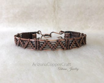 Woven Copper Bracelet, Sedona, Copper Wire Bracelet, Copper Bangle, Most Sold Item, 7th Anniversary Gift, ArizonaCopperCraft, FREE SHIPPING