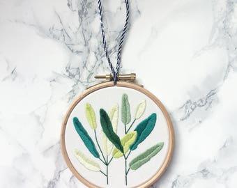 Palm Leaf Embroidery Hoop- Botanical Embroidery, Embroidered Hoop Art, Plant Embroidery, Embroidered Plant Hoop