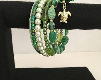 Green with Envy Sea Turtle Memory Wire Bracelet