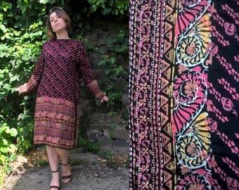 50%SALE Ethnic style Beach Dress Indian Tunic Boho Festival dress Loungewear Dress Long Sleeves Resort Midi Dress Batik Strips pattern