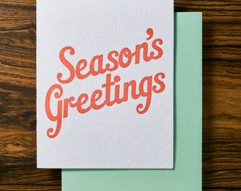 Pine Season's Greetings Letterpress Holiday Card