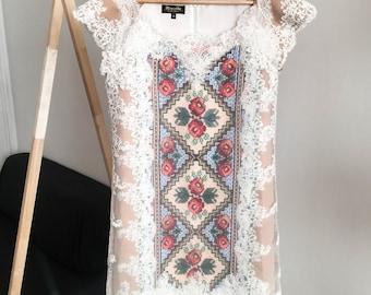 Bohemian unique dress, boho style, ukraine vyshyvanka, ethnic embroidery tunic, mexican dress, ethno tunic, ethno dress, hand embroidery