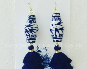 NAVY Mini Stacked Tassel Earrings | Chinoiserie, blue and white, ginger jar, gold, dangle, lightweight, layered, dainty, tiered