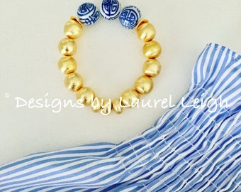GOLD Chinoiserie Beaded Bracelet | blue and white, navy, royal, stretchy, tarnish resistant, Designs by, Laurel Leigh