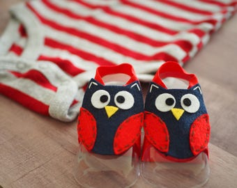 Baby Boy Barefoot Sandals, Owl Baby Shower Gift, Handmade Baby Shoes Unisex, Summer Baby Style, Red and Navy Blue Felt Owl Baby Gift Idea