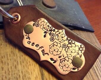 Grateful Keychain - Floral Keychain - Leather Keychain - Hand Stamped Keychain