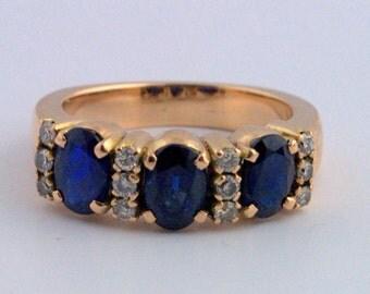 Vintage Three Stone Sapphire and Diamond Ring- 14k Yellow Gold